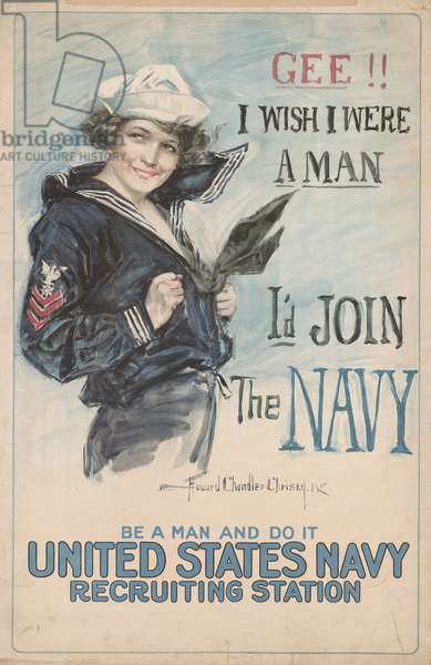 'Gee!! I Wish I Were a Man, I'd Join the Navy', 1917 (lithograph)