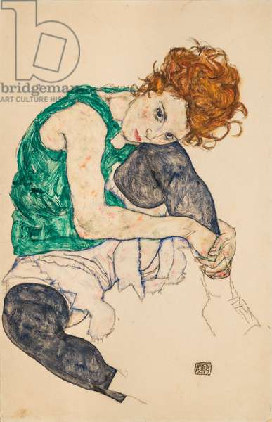 Seated Woman with Bent Knees, 1917 (gouache on paper)