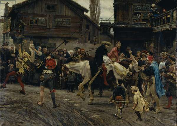 Peder Sunnanvader's and Master Knut's Ignominious Entry Into Stockholm in 1526, 1879 (oil on canvas)