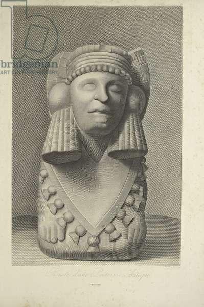 Bust of an Aztec Priestess, illustration from 'Vues des Cordillères et Monumens des Peuples Indigènes de l'Amérique' by Alexander von Humboldt and Aime Bonpland, 1813 (engraving)