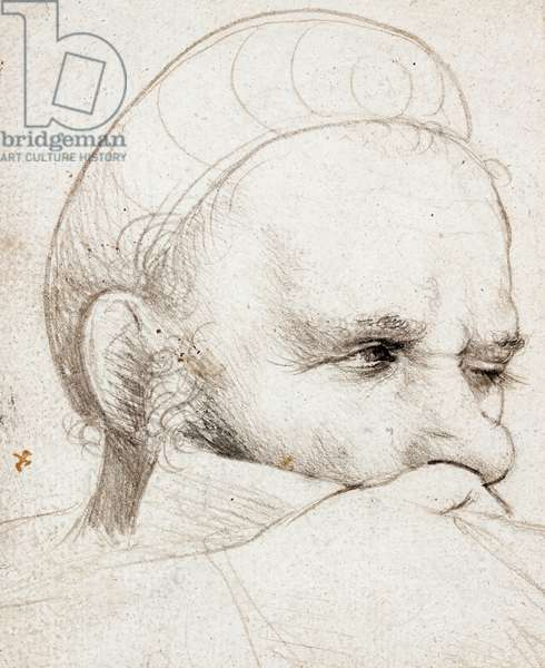 The head of a crossbowman taking aim, 1514-5 (silverpoint on grey prepared paper)