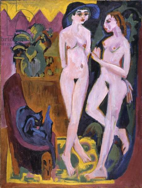 Two Nudes in a Room, 1914 (oil on canvas)