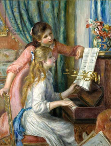 Two Young Girls at the Piano, 1892 (oil on canvas)