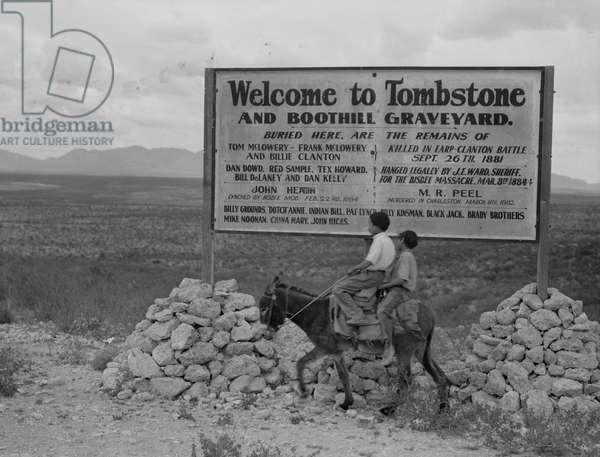 Sign entering Tombstone, Arizona, 1937 (b/w photo)