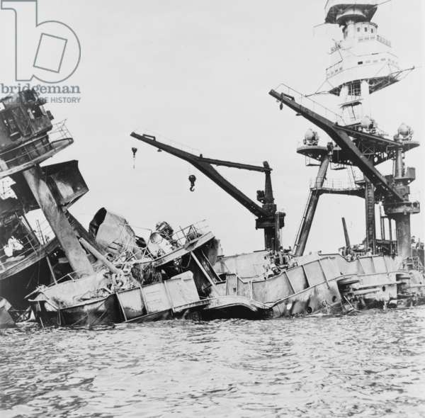 Wreckage of USS Arizona, Pearl Harbor, 1941 (b/w photo)
