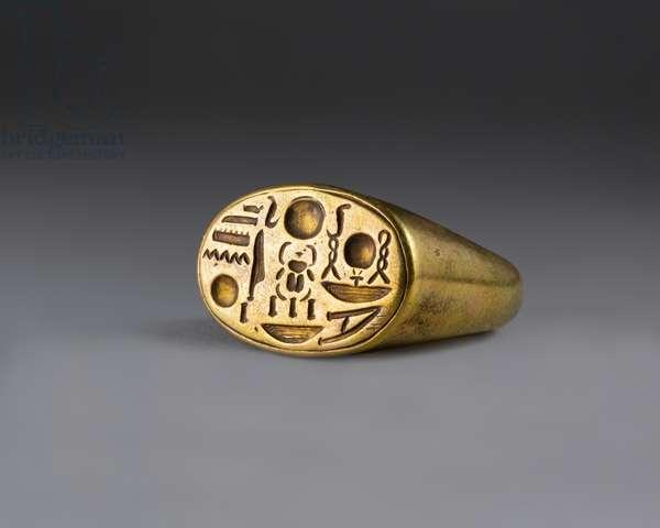 Signet Ring with Tutankhamun's Throne Name, c.1336–1327 B.C. (gold)