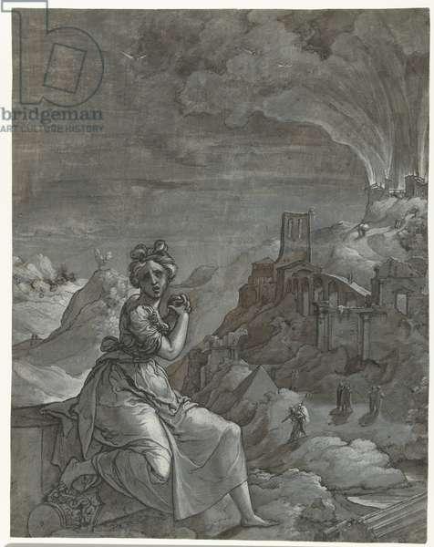 Cassandra mourns the destruction of Troy, 1550-55 (pen on paper)