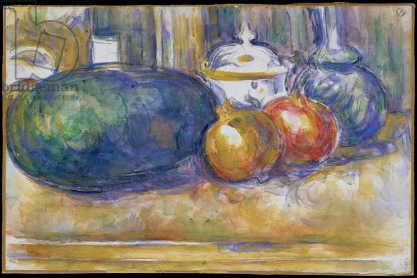 Still-Life with a Watermelon and Pomegranates 1900–06 (w/c over graphite on laid paper)