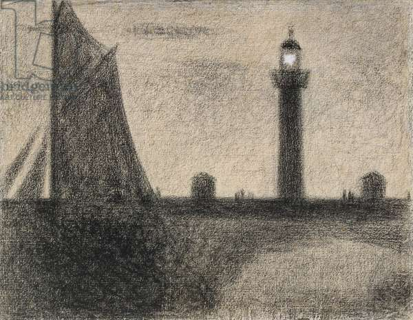 The Lighthouse at Honfleur, 1886 (conte crayon heightened with gouache on laid paper)