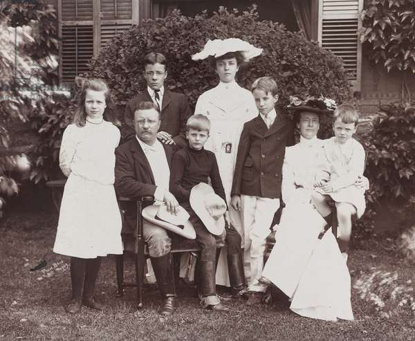 President Theodore Roosevelt, his wife Edith and family, 1903 (b/w photo)
