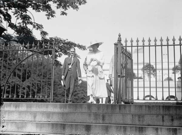 Jeanette Rankin leaving the White House during her first term of office, 1917 (b/w photo)