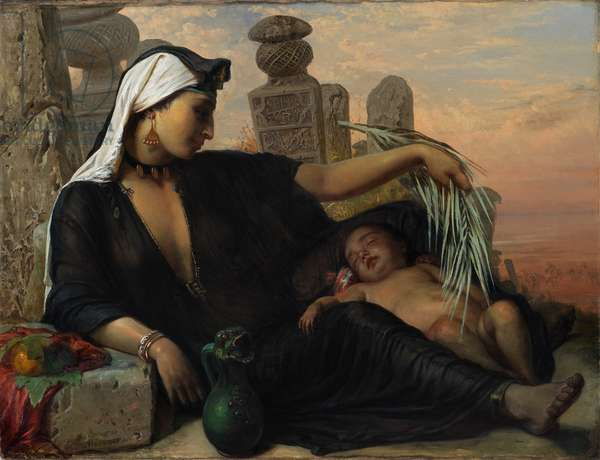 An Egyptian Fellah Woman with her Baby, 1872.