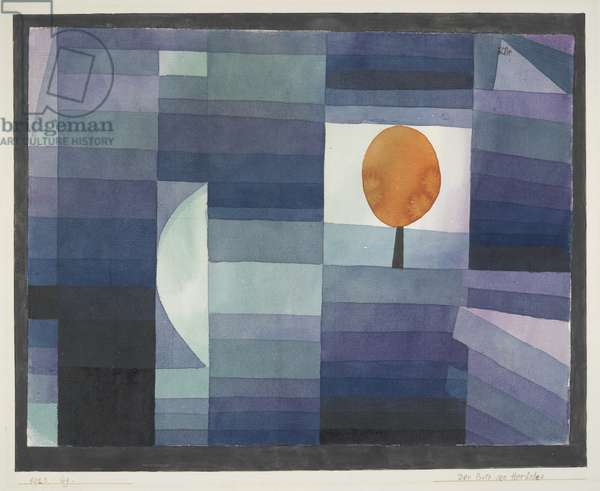 The Harbinger of Autumn green/violet gradation with orange accent, 1922 (w/c and graphite)
