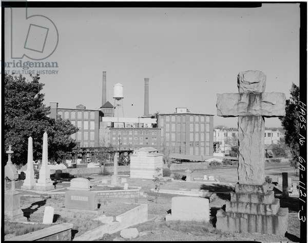 Cabbagetown District (General Views), Boulevard, Pearl Street, Memorial Drive, & Railroad tracks, Atlanta, Fulton County, GA (b/w photo)