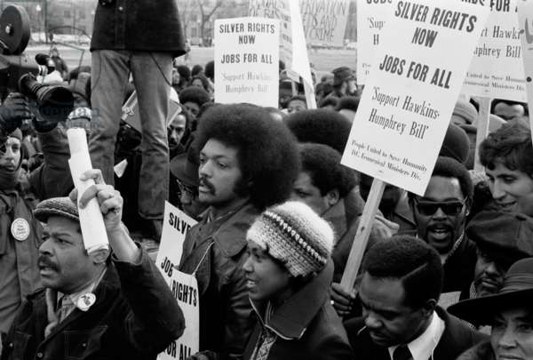 Reverend Jesse Jackson's march for jobs at the White House, 1975 (b/w photo)