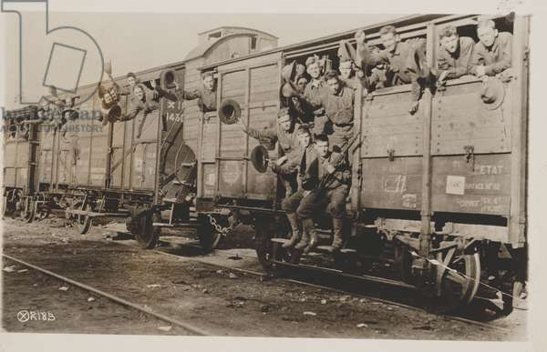 U.S. Marines in France off for camp, 1917-19 (b/w photo)