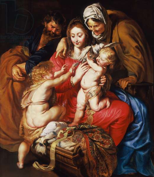 The Holy Family with St Elizabeth, St John and a Dove, c.1609 (oil on wood)
