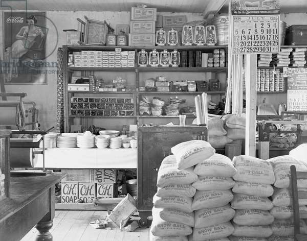 Interior of a general store in Moundville, Alabama, 1936 (b/w photo)