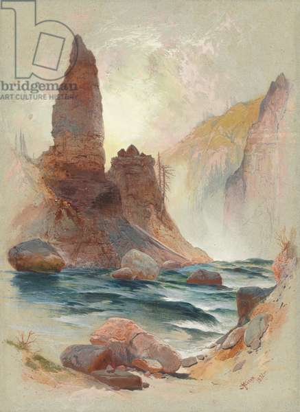Tower at Tower Falls, Yellowstone, 1872 (watercolour and gouache over graphite)