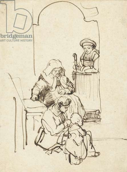 Three Women and a Child by a Door, c.1645 (pen and brown ink on paper)