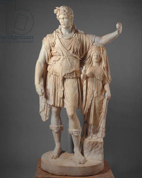"""Statue of Dionysos leaning on a female figure (""""Hope Dionysos""""), 27 BC–68 AD (marble)"""