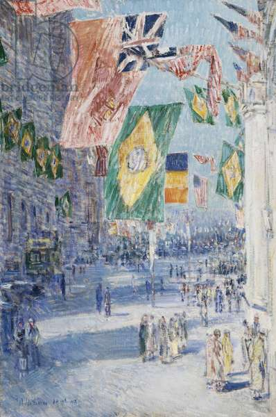 Avenue of the Allies: Brazil, Belgium, 1918 (oil on canvas)    36 5/16 x 24 5/16 in. (92.1 x 61.75 cm)