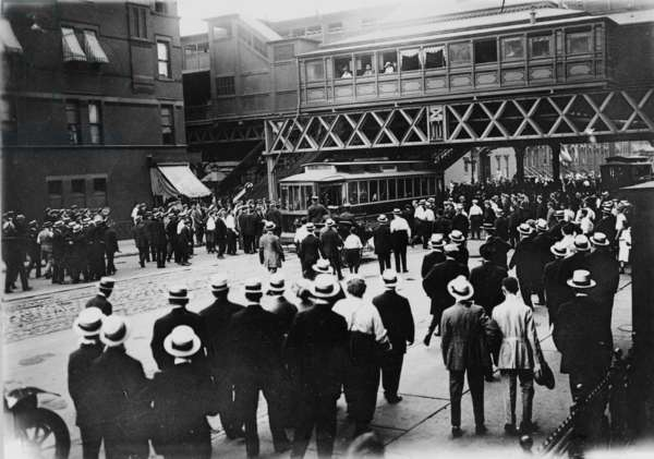 Strikes, street railways, New York. Stopped car on 86th St. and 6th Ave., 1916 (b/w photo)