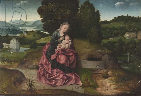 Virgin and Child Resting during the Flight into Egypt (oil on panel)