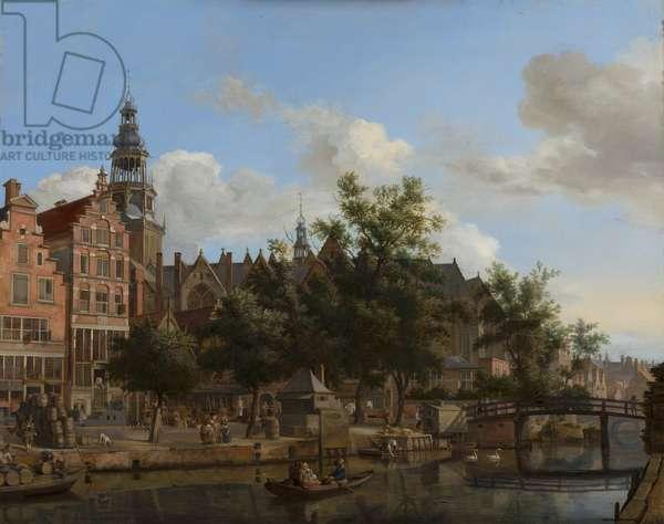 View of Oudezijds Voorburgwal with the Oude Kerk in Amsterdam, c.1670 (oil on panel)