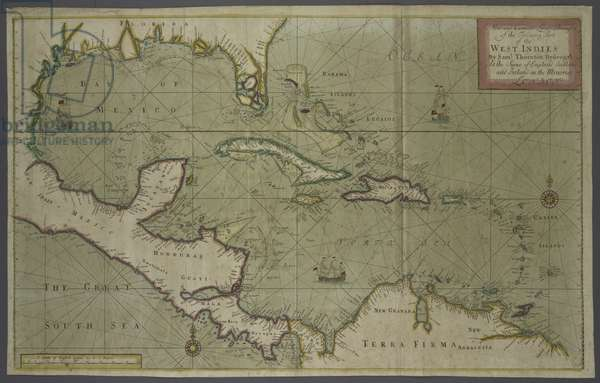 Trading map of the West Indies, 1707 (hand coloured print)