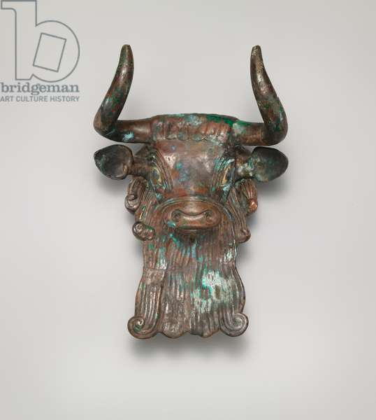 Bull's head ornament for a lyre,  c.2600–2350 BC (bronze, inlaid with shell and lapis lazuli)