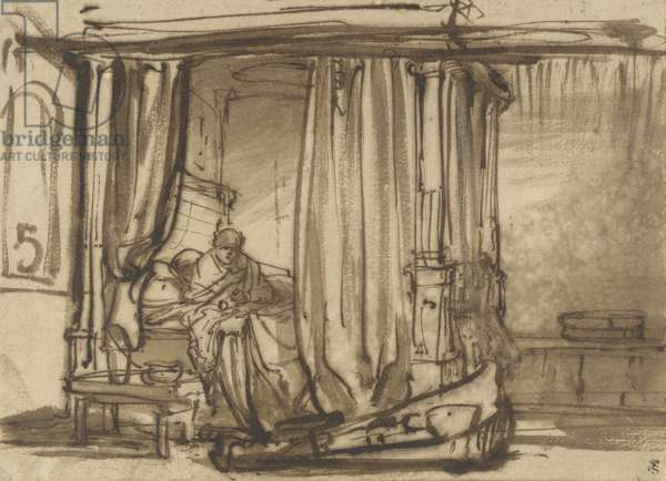 Bedroom with Saskia in Bed, c.1638 (pen and ink on paper)