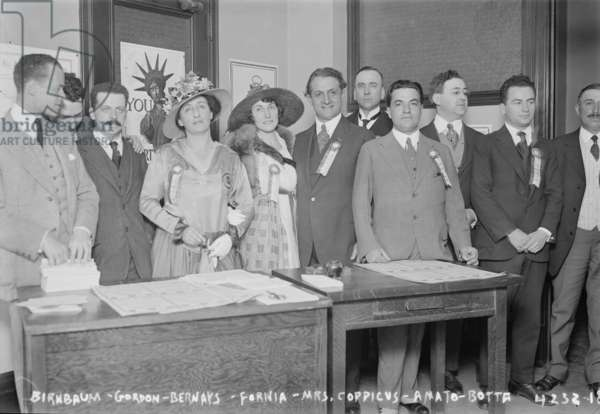 Opera singers and musicians opening the Operatic Liberty Loan Offices at Aeolian Hall, New York City, 1917 (b/w photo)