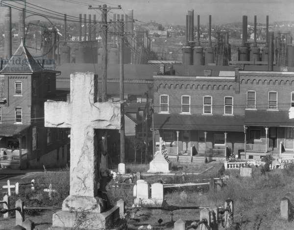 Graveyard and steel mill in Bethlehem, Pennsylvania, 1935 (b/w photo)