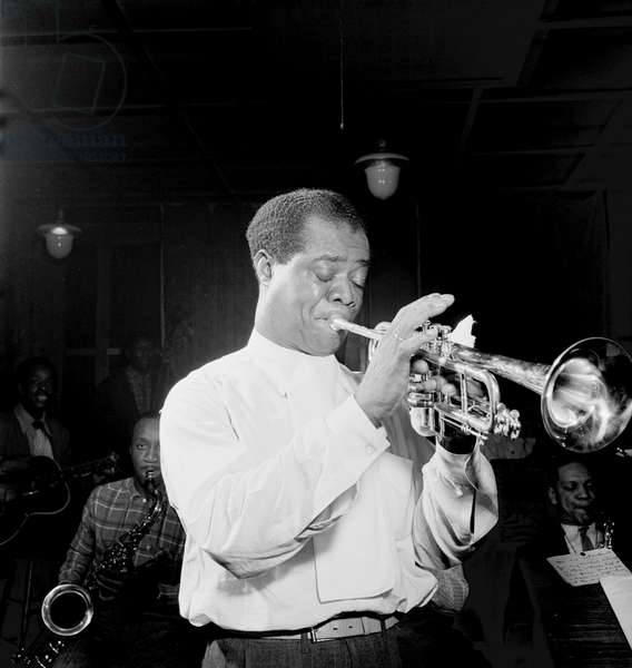 Louis Armstrong (1900-1971) Performing at Carnegie Hall in New York City, c. 1947 (b/w photo)