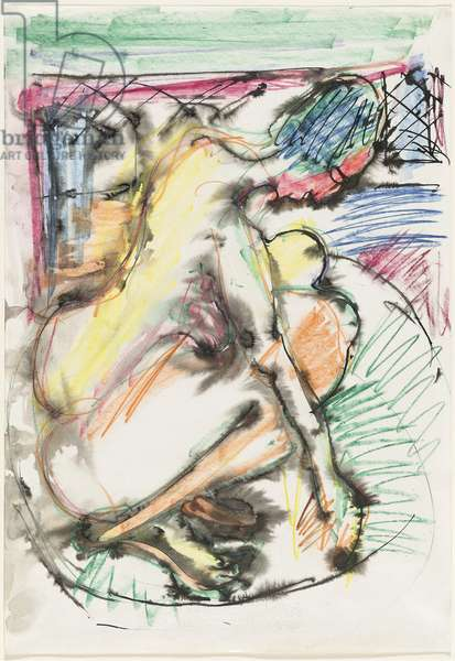Erna Bathing in a Tub, 1913-14 (pen, ink, wash and crayon on paper)
