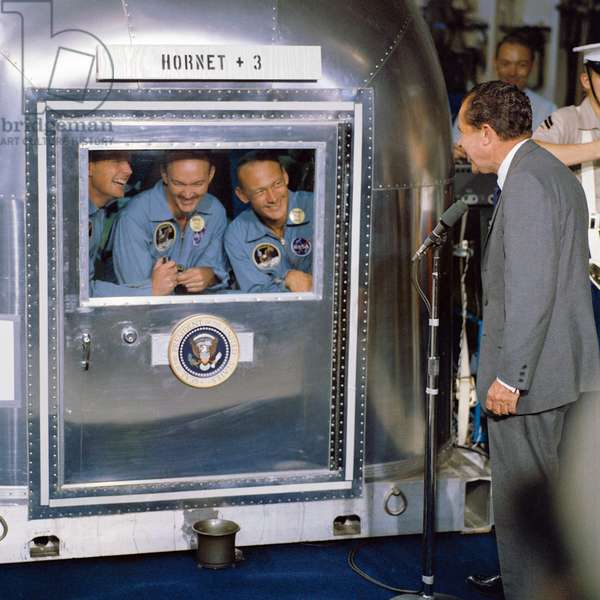 Apollo 11 Crew In Quarantine on USS Hornet welcomed by President Nixon, 1969 (colour photograph)