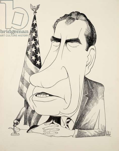 Richard M. Nixon seated before a microphone giving a speech, c.1972 (ink on board)