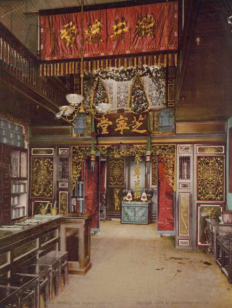 Chinese pharmacy, Los Angeles, California, 1899 (photolithograph)