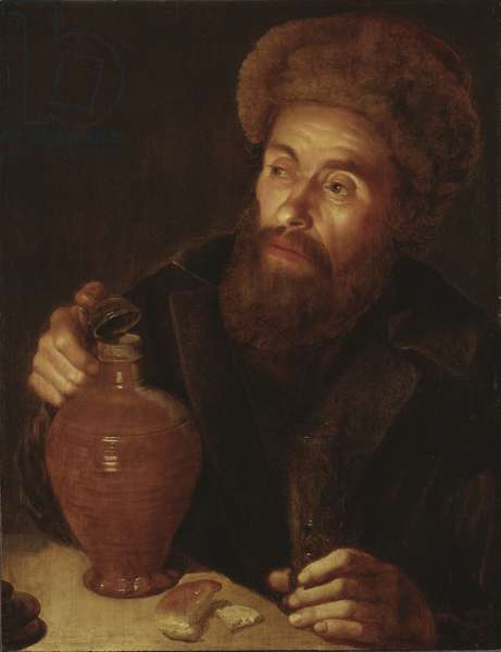 Old Man with a Jug (oil on oak)