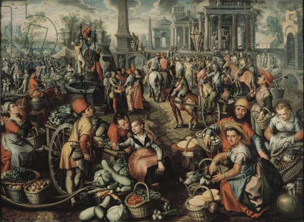 Market Scene: Ecce Homo, the Flagellation and the Carrying of the Cross, 1561 (oil on panel)