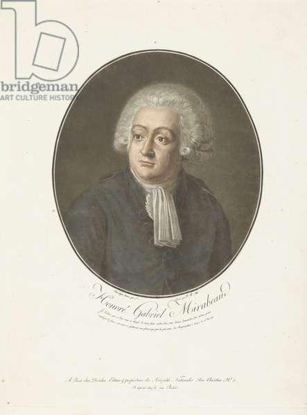 Portrait of Honoré Gabriel Mirabeau, 1792 (etching)