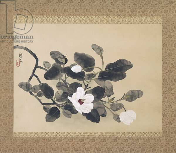 Magnolia branch, hanging scroll, 1933 (paper, ink and gold)