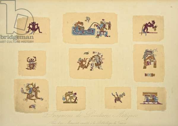 Fragments of Aztec Paintings, from the Manuscript Conserved in the Vatican Library, illustration from 'Vues des Cordillères et Monumens des Peuples Indigènes de l'Amérique' by Alexander von Humboldt and Aime Bonpland, 1813 (hand-coloured engraving)