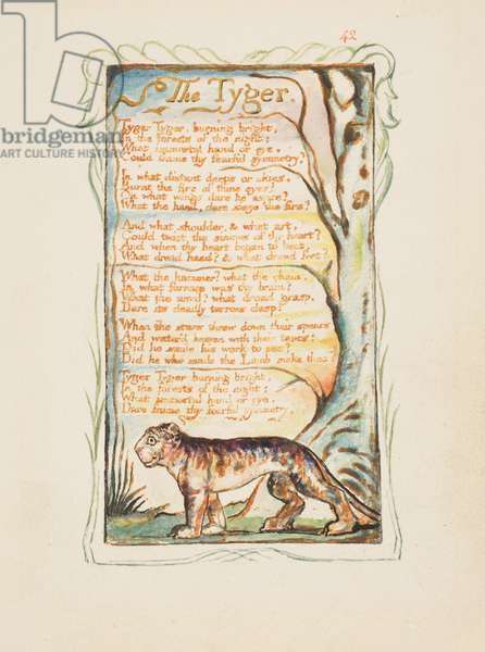 Songs of Innocence and of Experience: The Tyger, c.1825 (brown ink etching hand-coloured in watercolour)