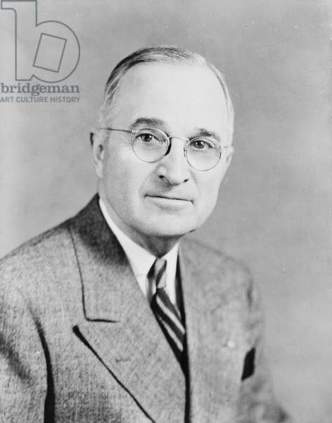 Harry Truman, 33rd President of the United States, 1945 (b/w photo)