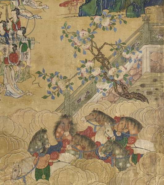 Detail from The Banquet of Seowangmo, c.1800 (ink, color and gold on silk)