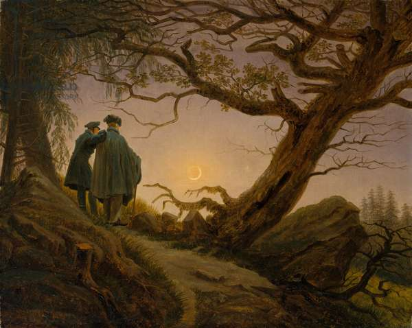 Two Men Contemplating the Moon, c.1825–30 (oil on canvas)