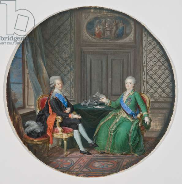 King Gustavus III and Catherine II of Russia in Fredrikshamn 1783 (watercolour on parchment)