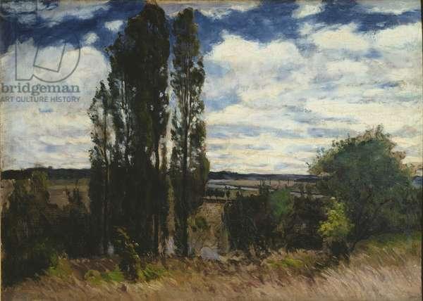 Seine, Landscape with Poplars, 1877 (oil on canvas)